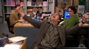 Dwight shouts to the heavens as Jim dismantles Megadesk.