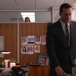 Peggy peeks in on Don as he suffers the loss of his secretary.