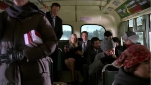Casey, Sarah, Chuck, and Morgan ride a bus to safety.