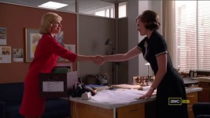 The women shake hands as Faye says goodbye to Peggy.
