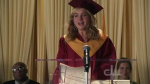 Lux gives the class speech at her high school graduation in 2012.