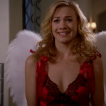 Sarah surprises Chuck with her Valentine's Day angel outfit.