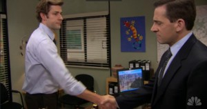 Jim and Michael shake hands to say goodbye.
