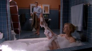 Chuck prepares for his bachelor party while Sarah takes a bath.