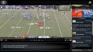 Sunday Night Football showing a game between the Arizona Cardinals and the New York Giants.