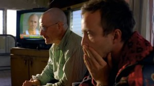 Walt and Jesse meditate their options at Tuco's desert outpost.