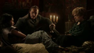 Shae, Bronn, and Tyrion