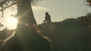Robb hitting a tree as Catelyn approaches