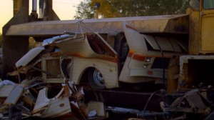 Walt and Jesse's RV being crushed at the junkyard.