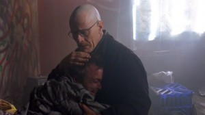 Walt tries to pull Jesse out of a meth den.