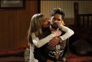 Bo Derek tries to seduce Morgan Grimes.
