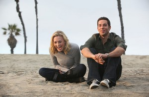 Yvonne Strahovski laughs with Zachary Levi in the final scene of Chuck.
