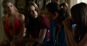 Hanna, Spencer, Emily, and Aria talk about what Emily remembers from 'that' night.