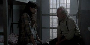 Lori confessing her fears to Hershel.