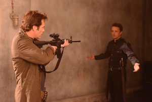 Miles keeps his rifle after Monroe puts down his weapon.