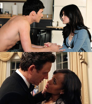 Ezra Fitz and Aria Montgomery | President Fitzgerald Grant with Olivia Pope
