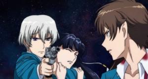 L-elf holds Saki hostage while Haruto looks on