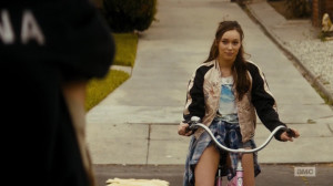 Alicia on the pink bike